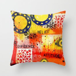 """Belief Confidence Attitude Commit"" Original design by PhillipaheART Throw Pillow"