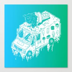 Melty Ice Cream Truck - Mint Canvas Print