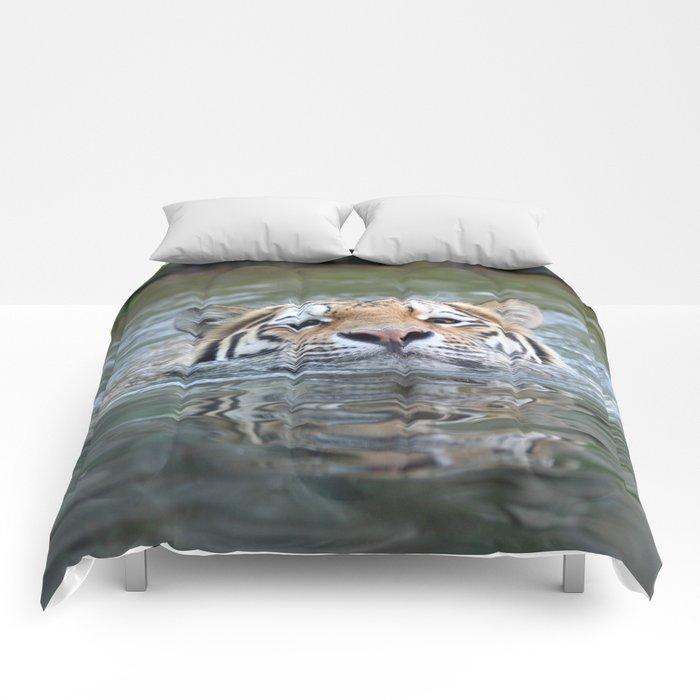 Swimming tiger Comforters