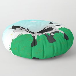 Cow on a meadow Floor Pillow