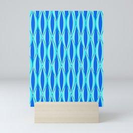 Mid-Century Ribbon Print, Shades of Blue and Aqua Mini Art Print
