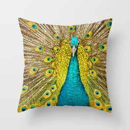 The plumage of the peacock Throw Pillow