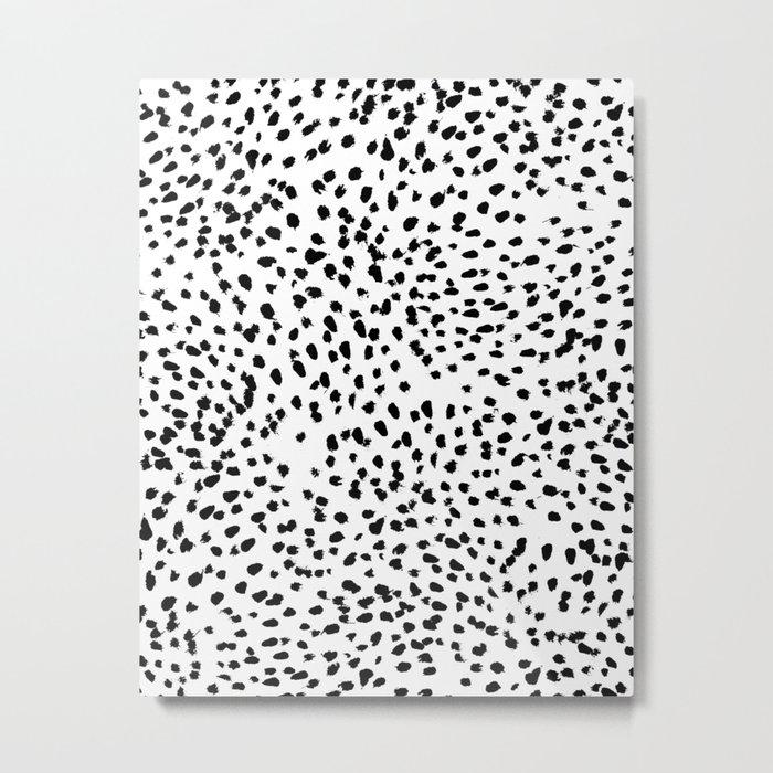 Nadia - Black and White, Animal Print, Dalmatian Spot, Spots, Dots, BW Metal Print
