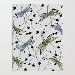 Dragonflies in the garden Poster