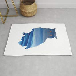 Watercolor owl art Rug