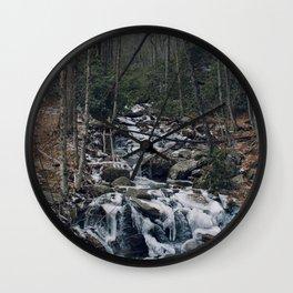 Frozen Stream From Mountain High Wall Clock
