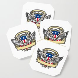 Crossed Wrench Army Wings American Flag Shield Coaster