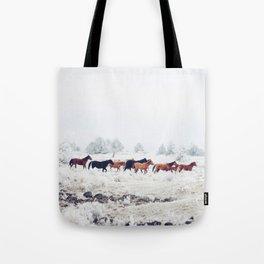 Winter Horse Herd Tote Bag