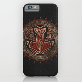 The hammer of Thor Black Red Leather and gold iPhone Case