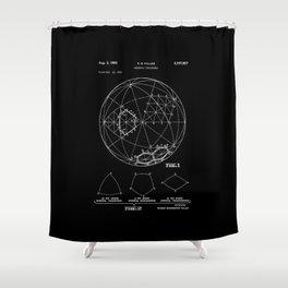 Buckminster Fuller 1961 Geodesic Structures Patent - White on Black Shower Curtain