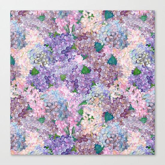 Purple and blue Lilac & Hydrangea - Flower Design Canvas Print
