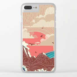 Stylized big waves of ocean or sea at sunset landscape Clear iPhone Case