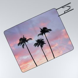 Palm Trees Sunset Photography Picnic Blanket