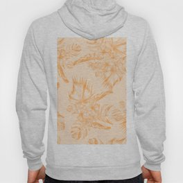 Island Vacation Hibiscus Coral Mango Orange Hoody