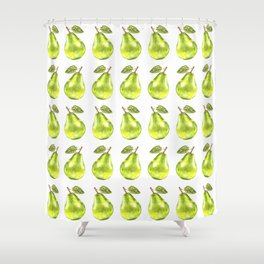 Watercolor Green Pear Zig-Zag Pattern Shower Curtain