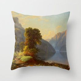 George Caleb Bingham A View of a Lake in the Mountains 1859 Throw Pillow
