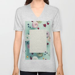 Sweet and colourful doughnuts with sprinkles and berries falling or flying in motion Unisex V-Neck