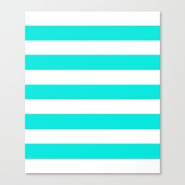 Bright turquoise - solid color - white stripes pattern Canvas Print