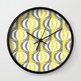Retro Mid-century striped ovals Illuminating Yellow, Ultimate Gray, White Wall Clock