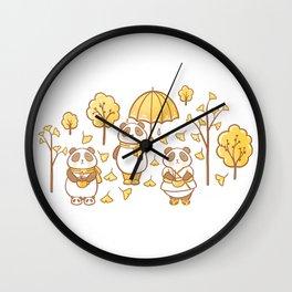 Pandas and ginkgo Wall Clock