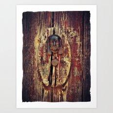 weathered wooden door with agypt door knocker Art Print