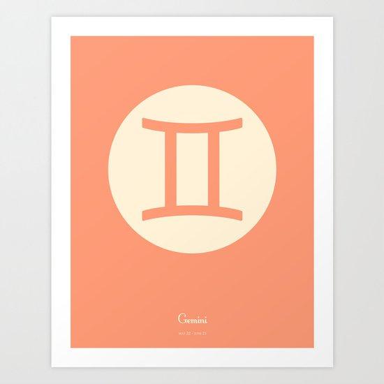 Gemini Symbol Pink Art Print