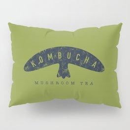 Kombucha Mushroom Tea // Moss Green and Blue Abstract Graphic Design Artwork Pillow Sham