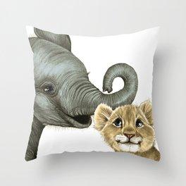 Elephant Calf and Lion Cub Throw Pillow