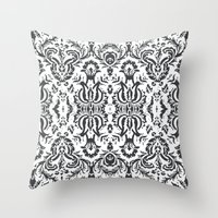 damask Throw Pillows featuring Damask by Pink Fox Designs
