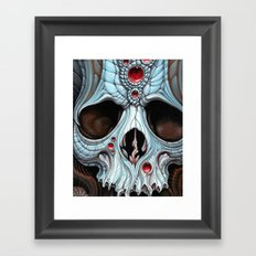 blue skull red jewels Framed Art Print