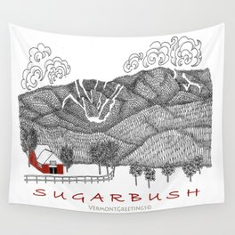 Sugarbush Vermont Serious Fun for Skiers- Zentangle Illustration Wall Tapestry
