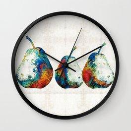 Colorful Pear Art - Three Pears - By Sharon Cummings Wall Clock