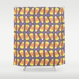 Candy Corn Tango in Violet Shower Curtain