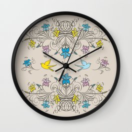 Shabby Chic vintage lily flowers bouquet and birds 2 Wall Clock