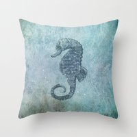 sea horse Throw Pillows featuring sea & horse by Steffi Louis