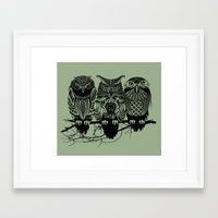feathers Framed Art Prints featuring Owls of the Nile by Rachel Caldwell