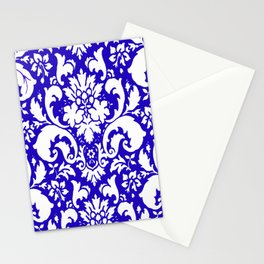 Paisley Damask Blue and White Stationery Cards