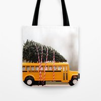 christmas tree Tote Bags featuring Christmas Tree by Beverly LeFevre