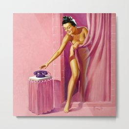 Pin Up Girl in Pink Bathroom Metal Print