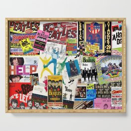 British Rock and Roll Invasion Fab Four Vintage Concert Rock and Roll Photography / Photographs Collage Serving Tray