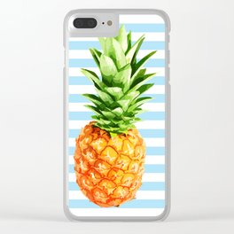 Pineapple, blue stripes, Pineapple Poster, Summer poster Clear iPhone Case