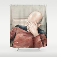 picard Shower Curtains featuring Picard Facepalm Meme by Olechka