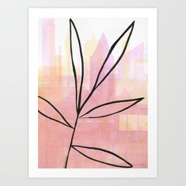 Line drawing leaves on pink and golden watercolor Art Print