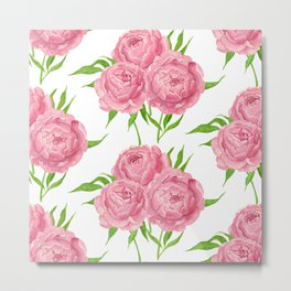 Peony bouquet watercolor pattern Metal Print