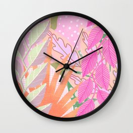 Modern Jungle Plants - Pink Green Purple Wall Clock