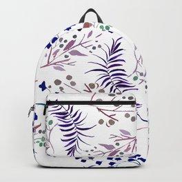 Watercolor navy blue pink tropical berries floral Backpack