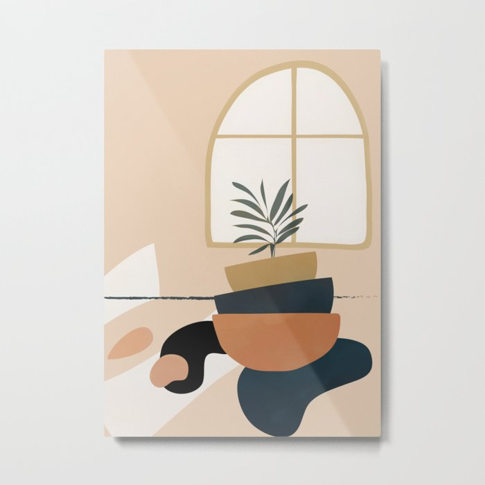 Plant in a Pot Metal Print