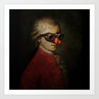 mozart Art Prints featuring Surreal Steampunk Mozart by Paul Stickland for StrangeStore
