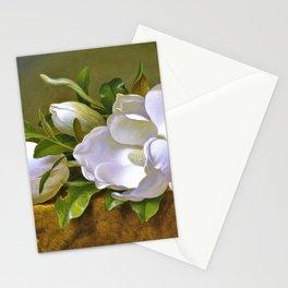12,000pixel-500dpi - Magnolias On Gold Velvet Cloth - Martin Johnson Heade Stationery Cards