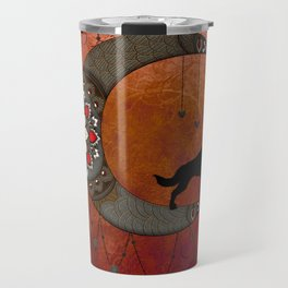 Black wolf on decorative steampunk moon Travel Mug